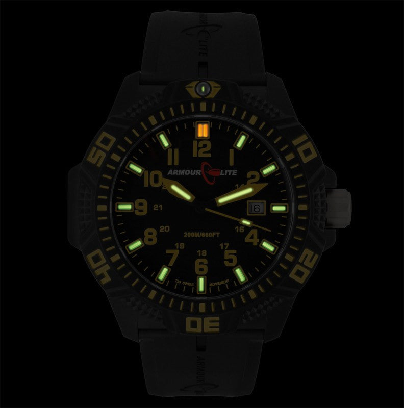 Armourlite Caliber Polycarbonate/Sapphire Men's Watch Black-Yellow | Rubber AL614