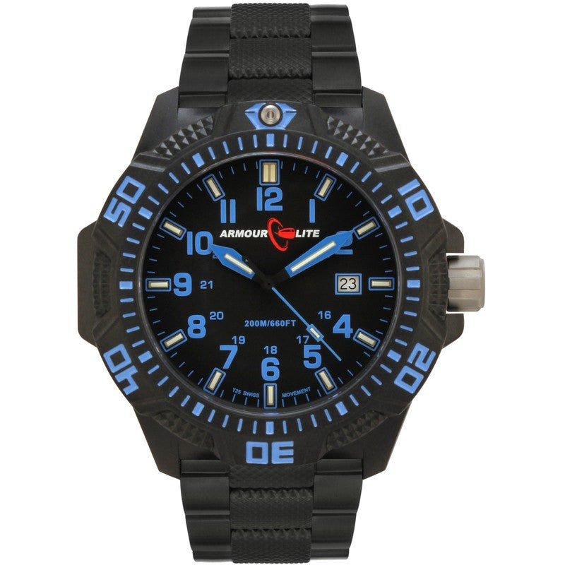Armourlite Caliber Polycarbonate/Sapphire Men's Watch Black-Blue | Steel AL621