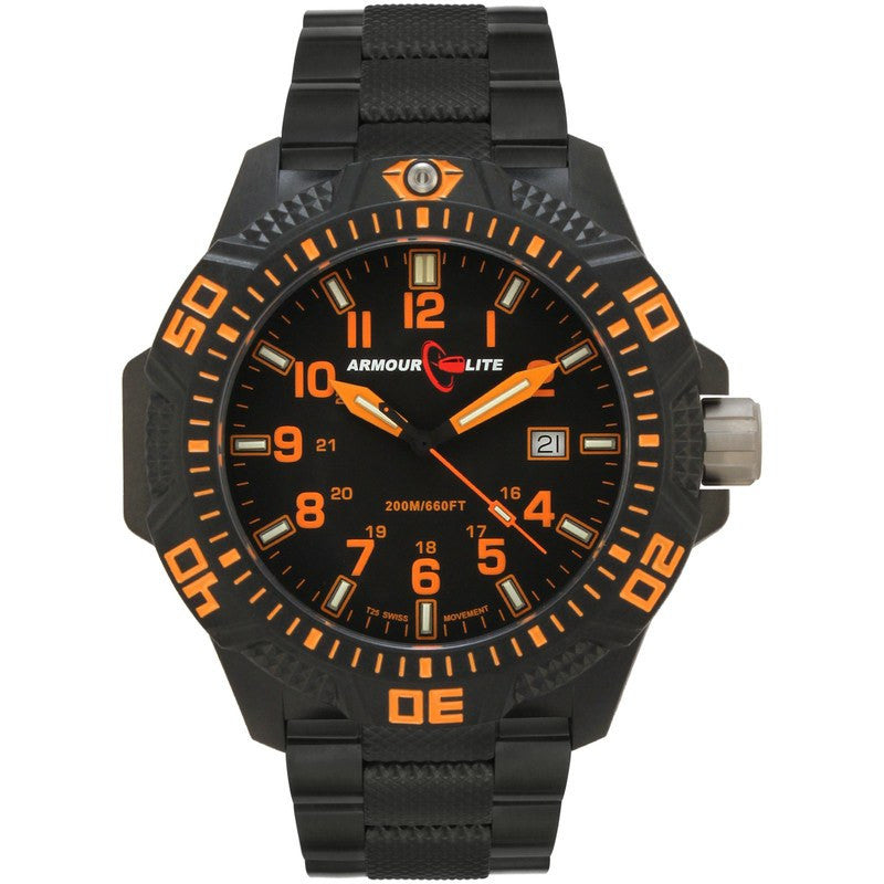 Armourlite Caliber Polycarbonate/Sapphire Men's Watch Black-Orange | Steel AL622