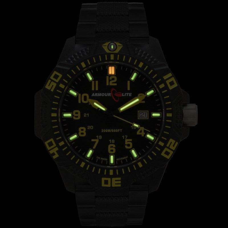 Armourlite Caliber Polycarbonate/Sapphire Men's Watch Black-Yellow | Steel AL624