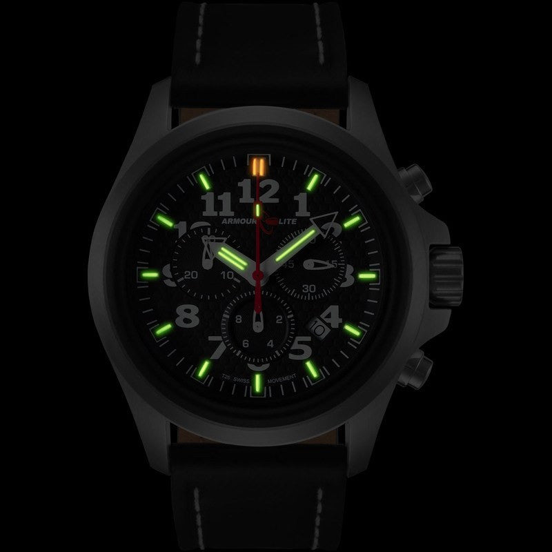 Armourlite Officer Series AL802 Men's Chronograph Watch Black-Green | Leather