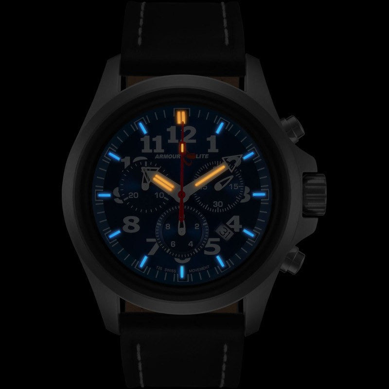 Armourlite Officer Series AL804 Mens' Chronograph Watch Blue-Blue | Leather