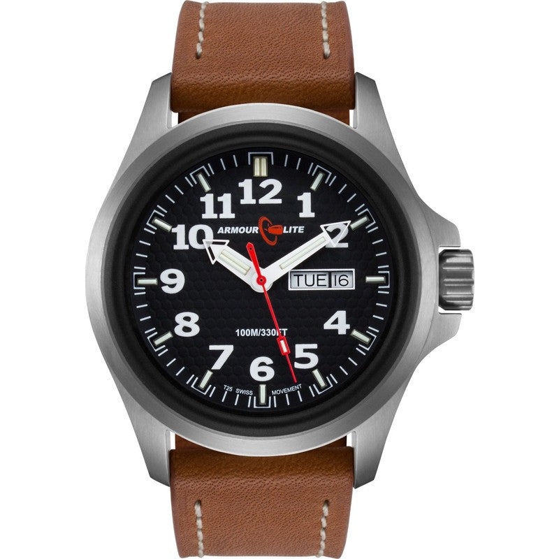 Armourlite Officer AL821 Black-Green Watch | Brown Leather