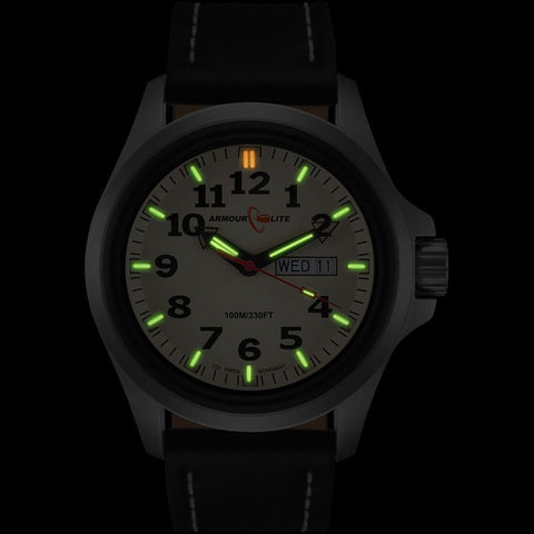 Armourlite Officer AL825 Cream-Green Watch | Black Leather