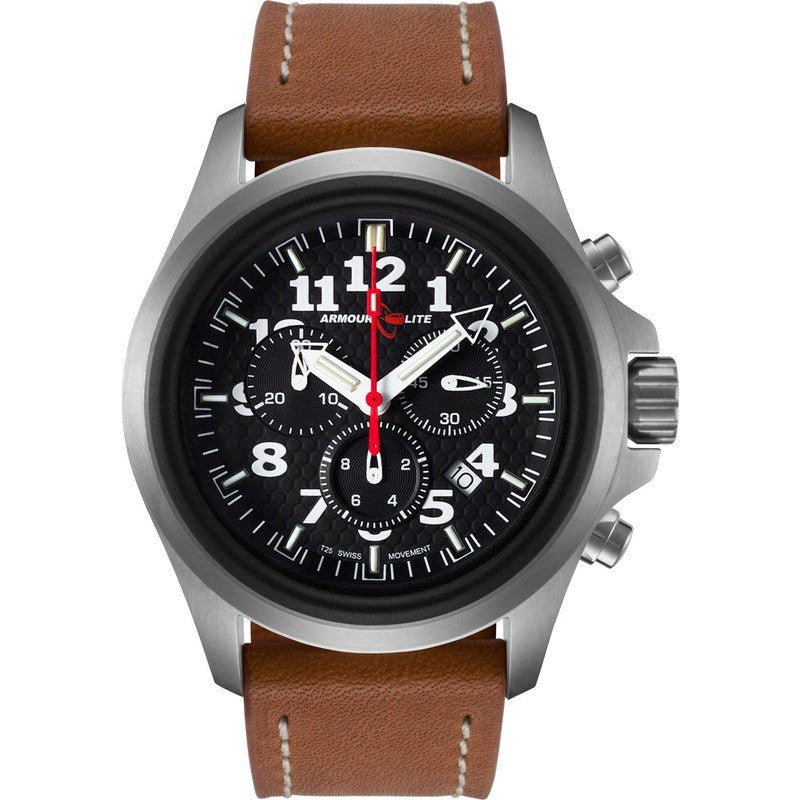 Armourlite Officer Chronograph AL832 Black-Blue Watch | Brown Leather