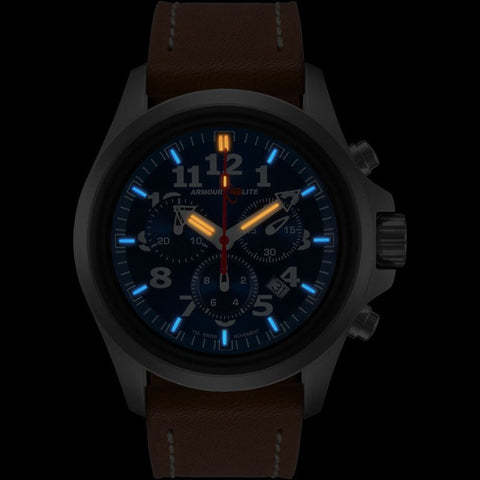 Armourlite Officer Chronograph AL834 Blue-Orange Watch | Brown Leather