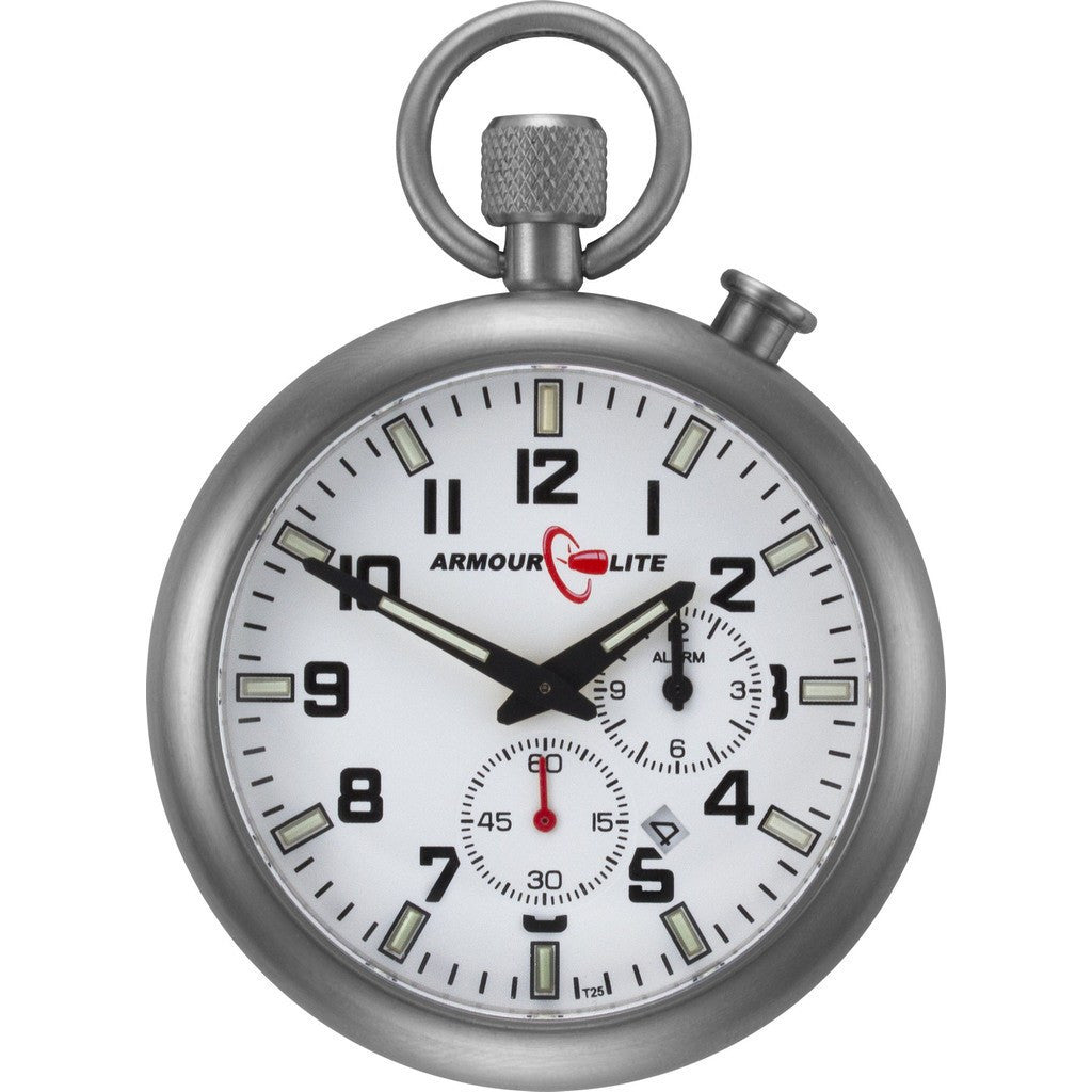 Armourlite ALPW01 Alarm Clock Pocket Watch | White