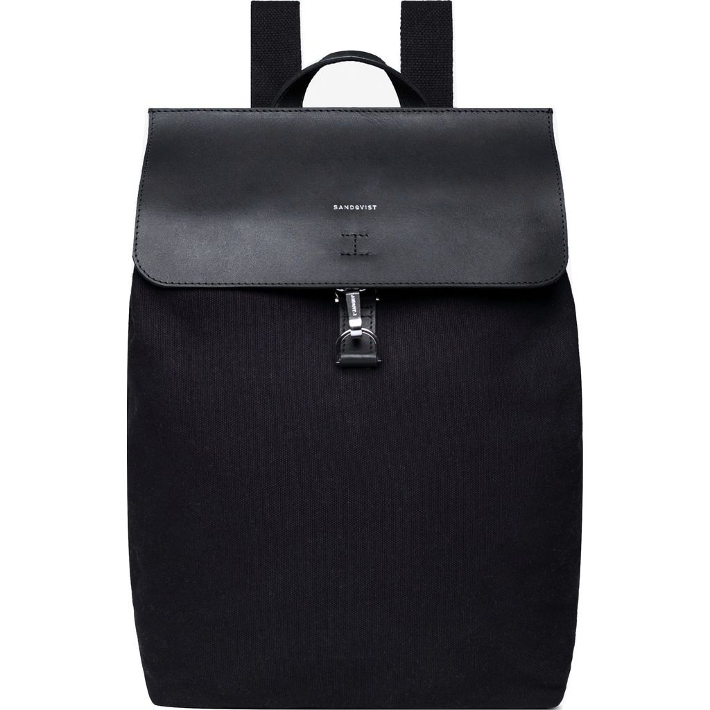 Sandqvist Alva Metal Hook Backpack - Black with Black Leather SQA1224