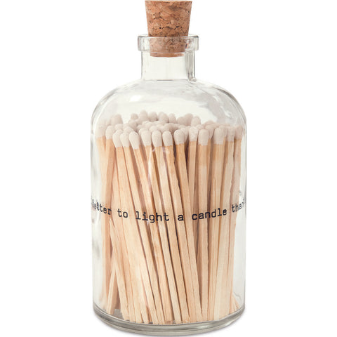Skeem Large Apothecary Match Bottles | 120 matches Poetry White AM2
