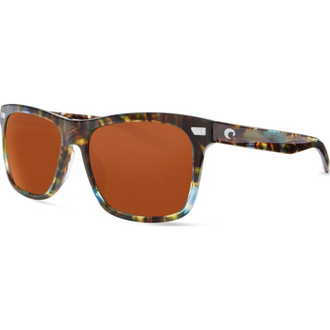 Costa Aransas Shiny Ocean Tortoise Sunglasses | Copper Silver Mirror 580G