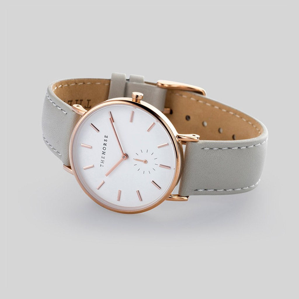 The Horse Classic Polished Rose Gold Watch | Grey AS01- B1