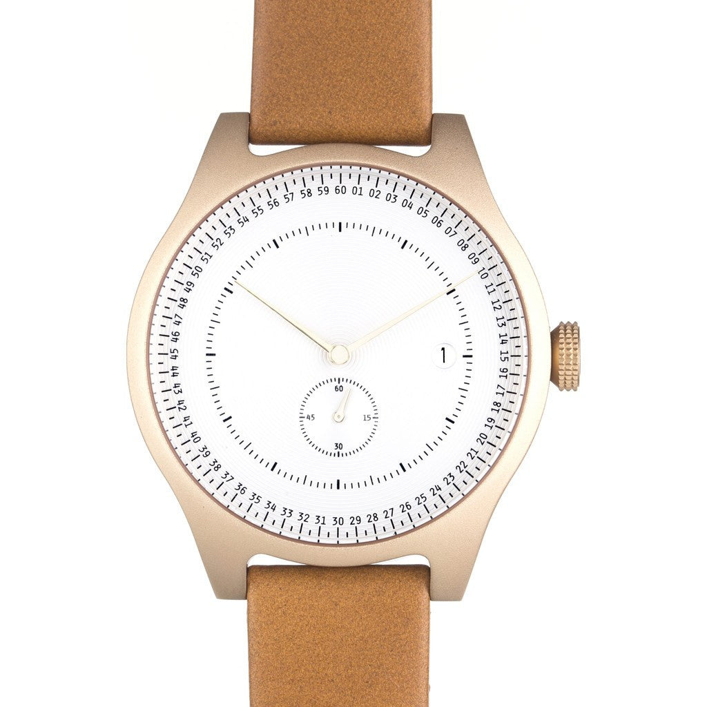 squarestreet SQ31 Aluminum Off-White Watch | Gold/Camel Leather SQ31 AS-01