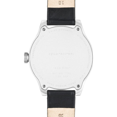 squarestreet SQ31 Aluminum Off-White Watch | Silver/Black Leather SQ31 AS-03