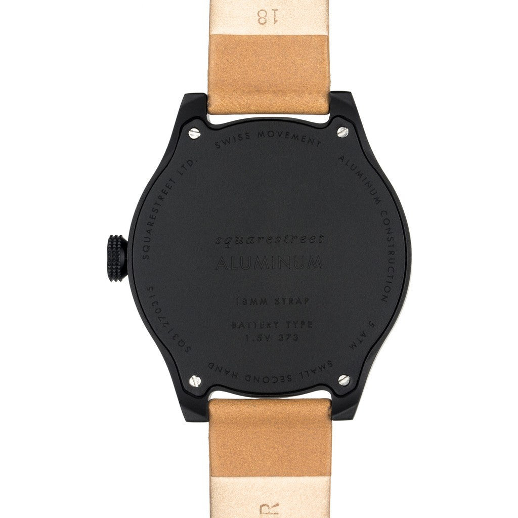 squarestreet SQ31 Aluminum Off-White Watch | Black/Camel Leather SQ31 AS-05