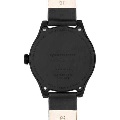 squarestreet SQ31 Aluminum Black Watch | Black/Black Leather SQ31 AS-06
