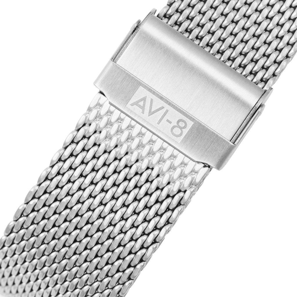 AVI-8 Flyboy AV-4021-22 Automatic Watch | Silver Mesh  AV-4021-22