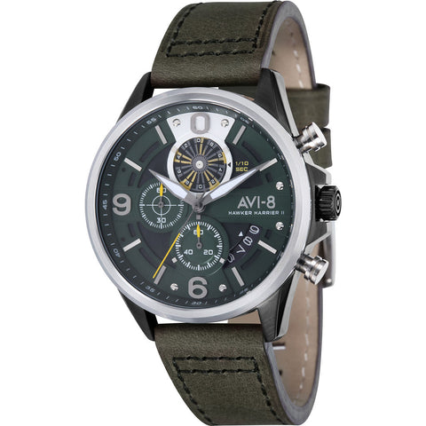 AVI-8 Hawker Harrier II AV-4051 Chronograph Watch | Leather Strap color-Grey/ Grey