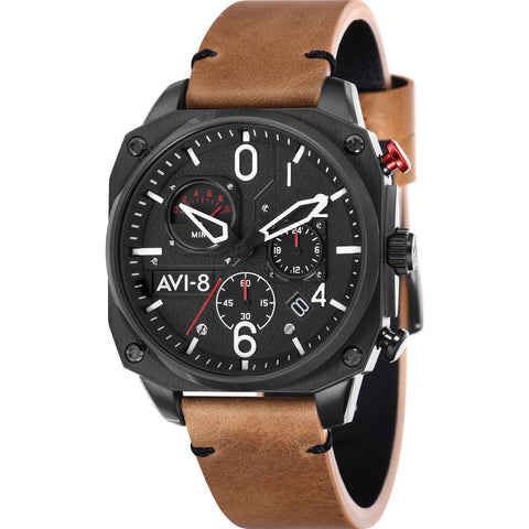 AVI-8 Hawker Hunter AV-4052 Chronograph Watch | Leather Strap color-Grey/Black