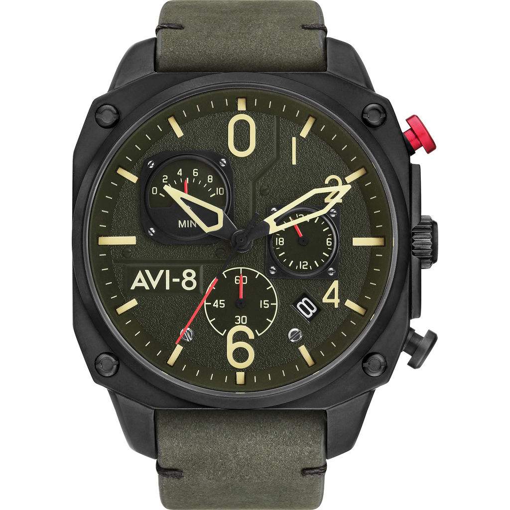 AVI-8 Hawker Hunter AV-4052 Chronograph Watch | Leather Strap color-Green/Green