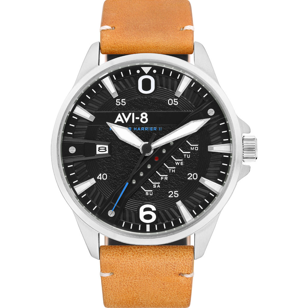 AVI-8 Hawker Harrier II AV-4055 Quartz Watch | Leather Strap color-Black/ Brown