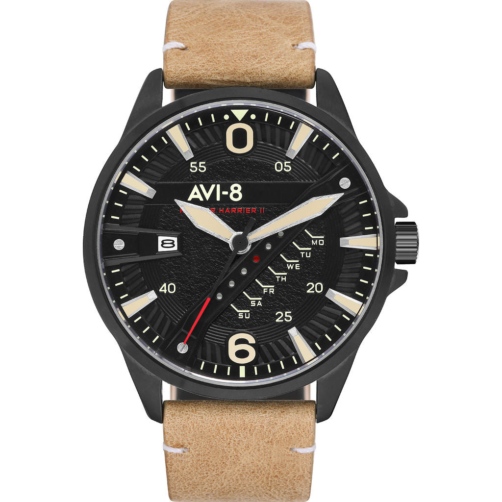 AVI-8 Hawker Harrier II AV-4055 Quartz Watch | Leather Strap color-Black/ Cream