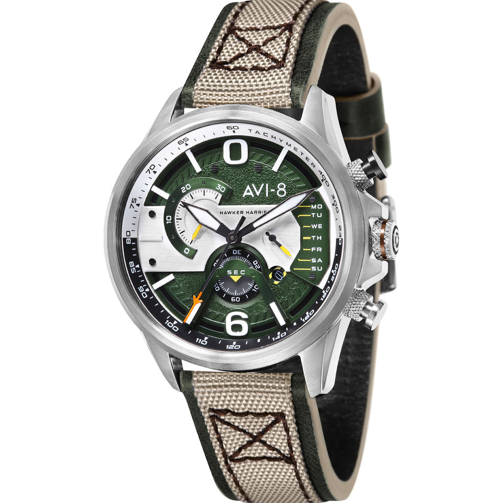 AVI-8 Hawker Harrier II AV-4056 Retrograde Chronograph Watch | Leather Strap Color-Green