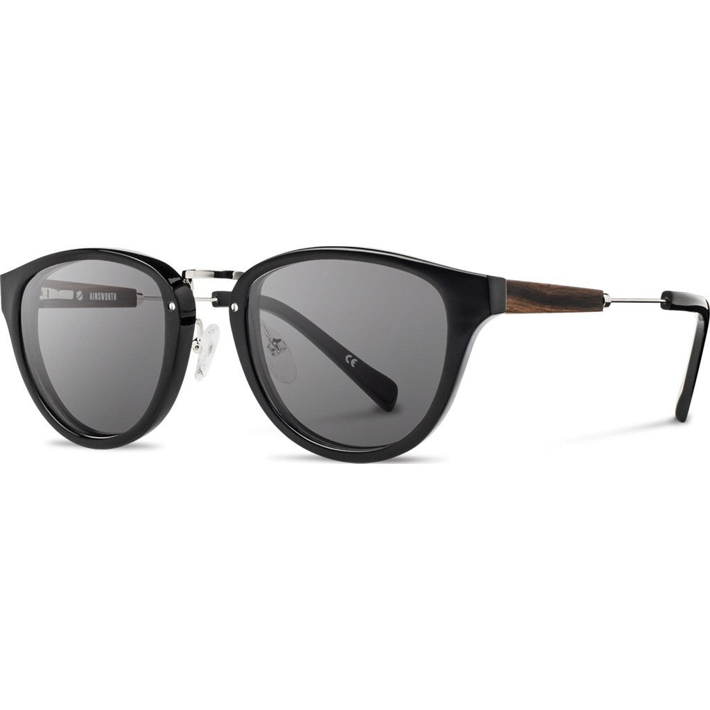 Shwood Ainsworth Acetate Sunglasses | Black & Silver / Grey WAABSG