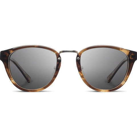 Shwood Ainsworth Acetate Sunglasses | Bourbon & Matte Silver / Grey Polarized WAAB3GP