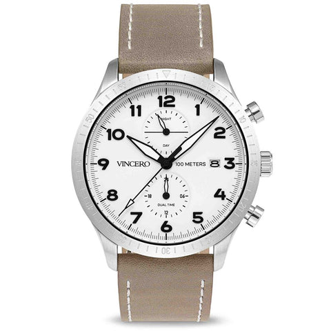 Vincero Men's Altitude Chronograph Silver Watch | Desert Gray Leather strap Whi-Sil-A06