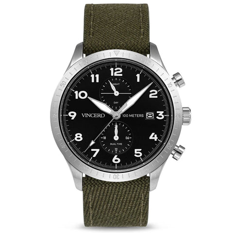 Vincero Men's Altitude Chronograph Silver Watch | Military Green Nylon strap Sil-Mil-A11