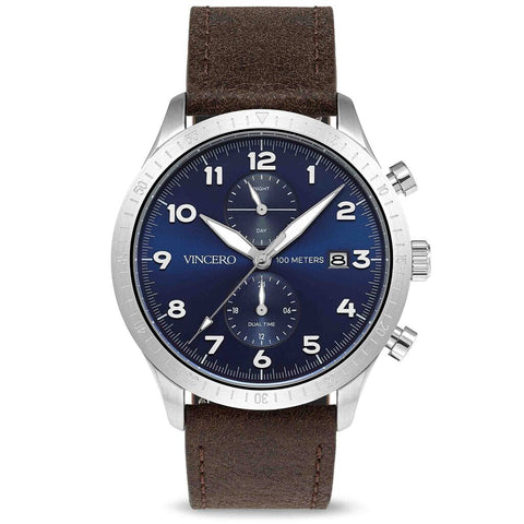 Vincero Men's Altitude Chronograph Silver/Navy Watch | Leather strap Blu-SilB-A05