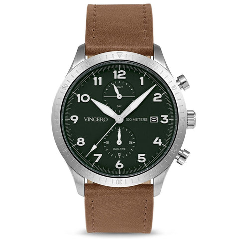Vincero Men's Altitude Chronograph Silver/Pine Watch | Leather strap Sil-For-A12