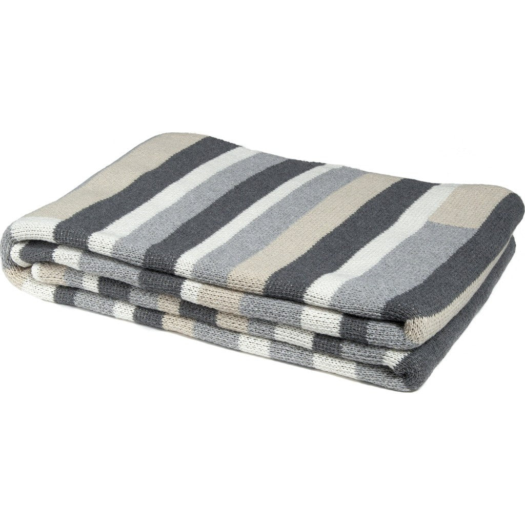 in2green Block Stripe Eco Throw | Flax/Smoke/Aluminum BL01BS2