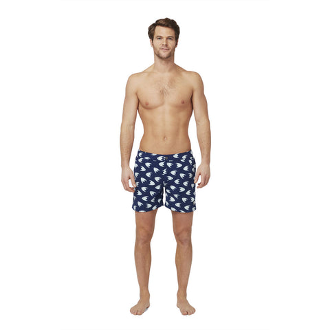 Tom & Teddy Men's Angel Fish Contemporary Swim Trunk | Deep Blue