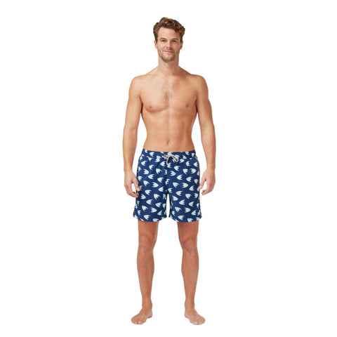 Tom & Teddy Men's Angel Fish Swim Trunk | Deep Blue
