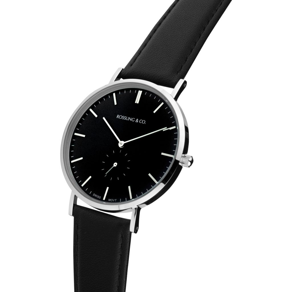 Rossling & Co. Classic 40mm Rogart Leather Watch | Silver/Black/Black- RO-001-023