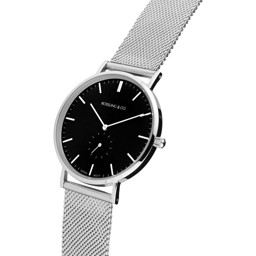Rossling & Co. Classic 40mm Mesh Stainless Steel Watch | Silver/Black/Silver- RO-001-025