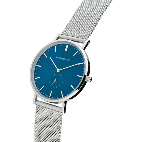 Rossling & Co. Classic 40mm Mesh Stainless Steel Watch | Silver/Blue/Silver- RO-001-026