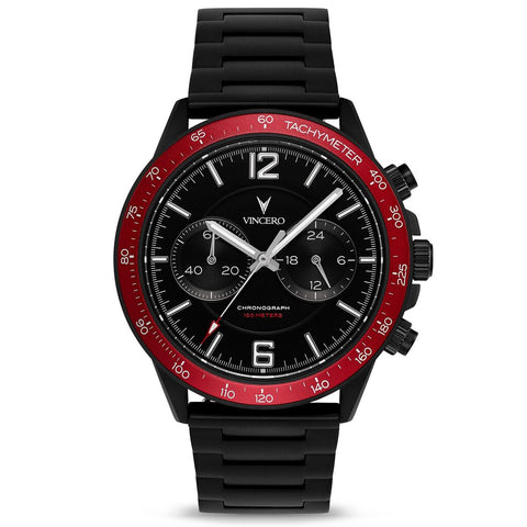 Vincero Men's Apex Sport Crimson Watch | Matte Black Strap Bla-Cri-P06