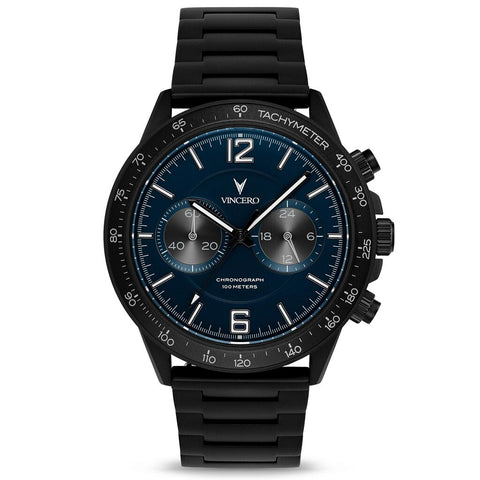 Vincero Men's Apex Sport Navy Watch | Matte Black Strap Bla-Mid-P04