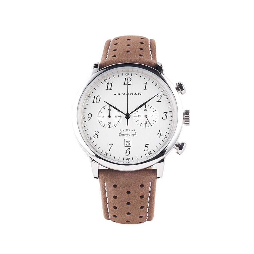 Armogan Le Mans Chronograph Watch | Silvered White LMS11N2B9