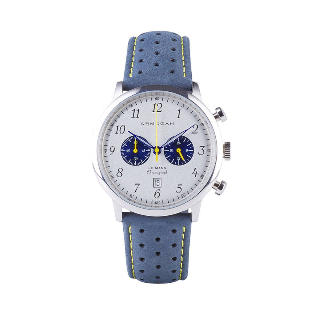 Armogan Le Mans Chronograph Watch | Silvered White/Blue/Yellow LMS13K3Y3