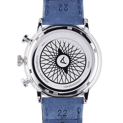Armogan Le Mans Chronograph Watch | Silvered White/Blue/Orange LMS13K3O3