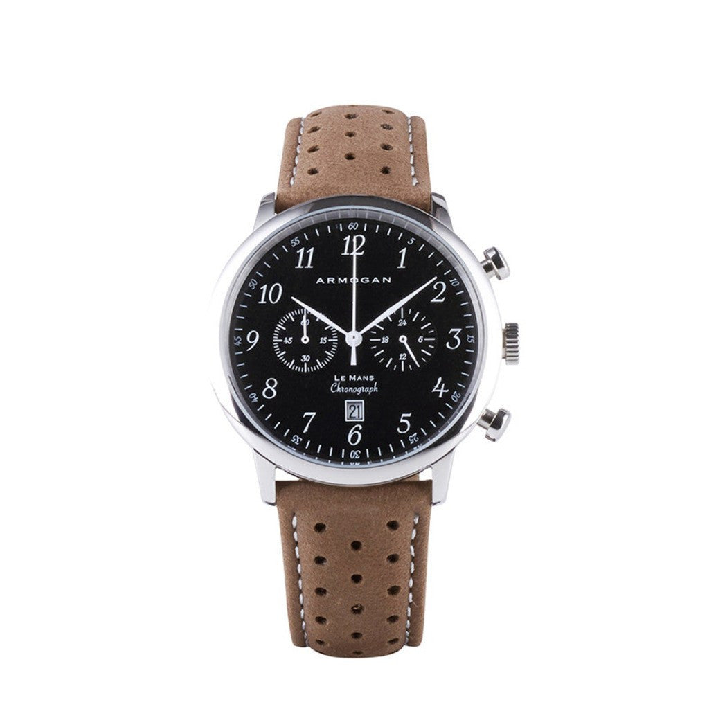 Armogan Le Mans Chronograph Watch | Silver Black LMS22N7W9