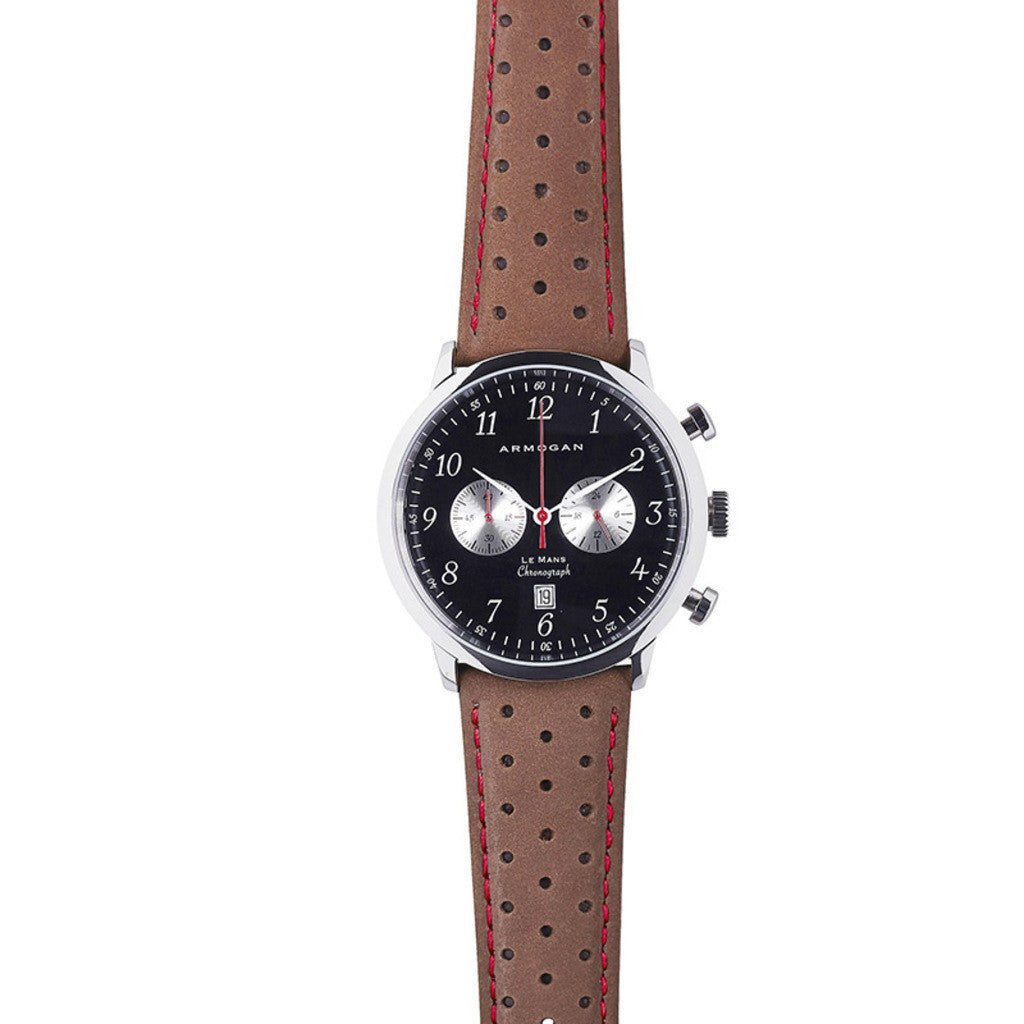Armogan Le Mans Chronograph Watch | Silver Black/Red LMS25N7R9
