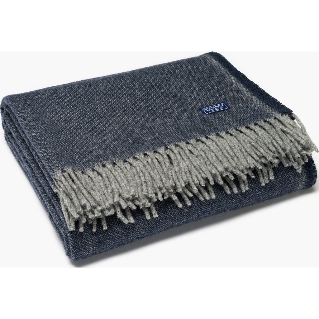 "Faribault Ashby Twill Wool Throw | Ink Blue 16569 50"" x 72"""