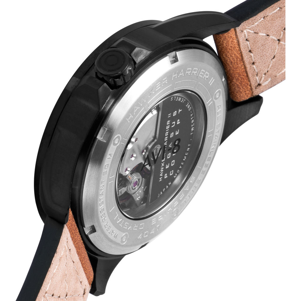 AVI-8 Hawker Harrier II AV-4047 Pegasus Watch | Leather Strap color-Gun Metal/ Brown