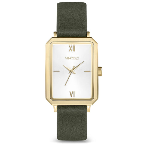 Vincero Women's Ava Quartz Gold Watch | Moss Leather Strap Whi-YgSL-F07