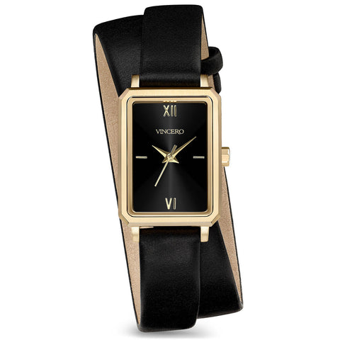 Vincero Women's Ava Petite Quartz Gold Watch | Jet Black Leather 2X Strap