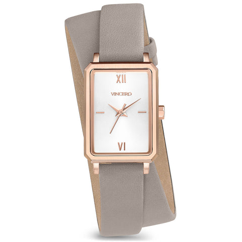 Vincero Women's Ava Petite Quartz Rose Gold Watch | Mist Leather 2X Strap